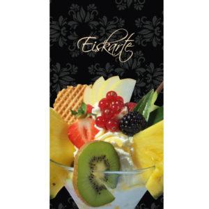 Eiskarte als 12-seitige Broschüre, gefächert, schwarz Ornament