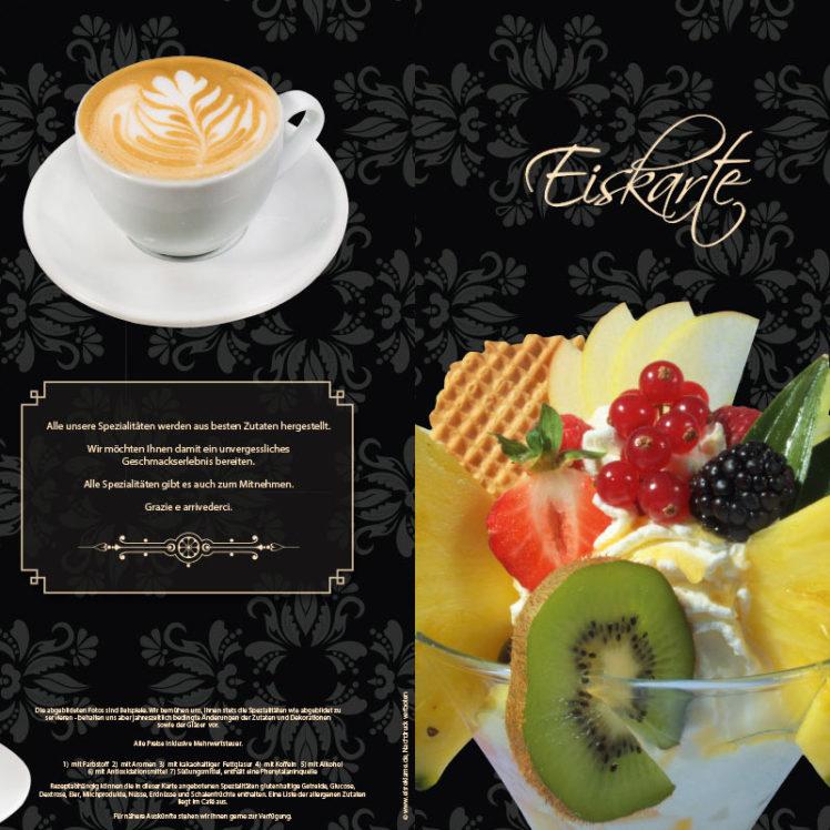 Eiskarte als 12-seitige Broschüre, gefächert, schwarz mit Ornamenten