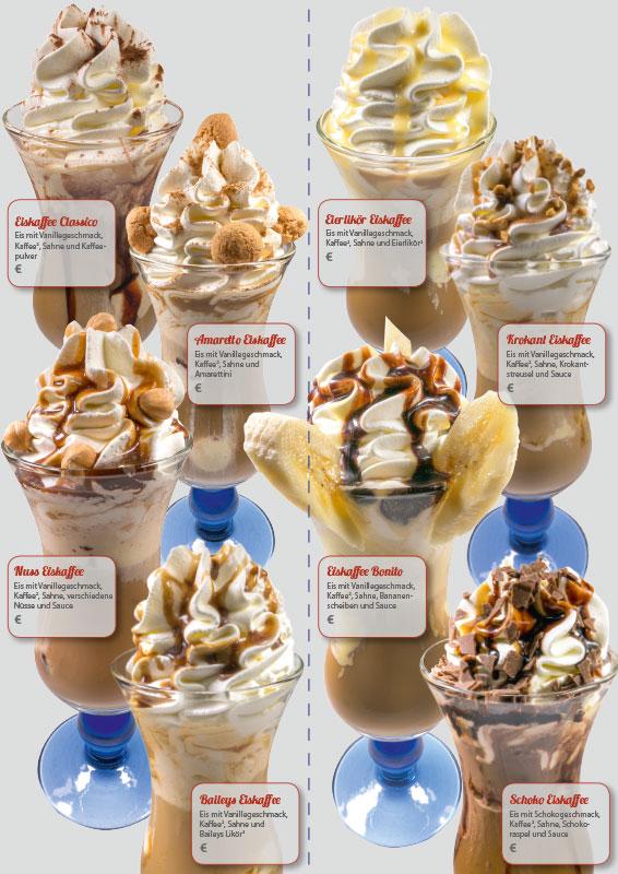 Karte mit Eiskaffee / Eisschokolade Variationen, Format 10,5 x 29,7 cm, Innenseite