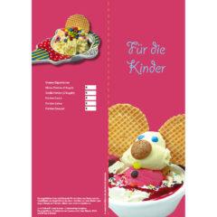 Eiskarte als 4-seitige Broschüre mit Kinder Eisbechern