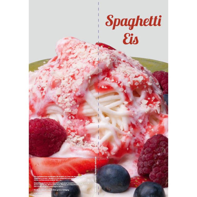 Karte mit Spaghetti Eis Variationen, Format 10,5 x 29,7 cm
