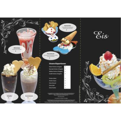 Eiskarte als 6-seitige Wickelfalz, floral schwarz