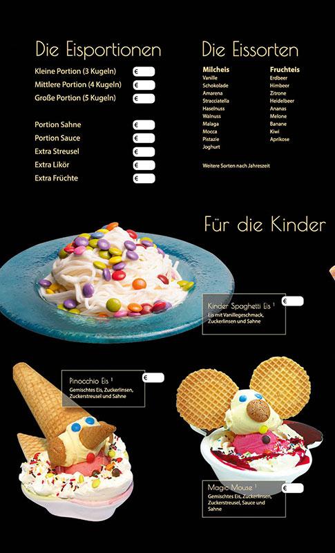 Eiskarte als 8-seitige Broschüre, schwarz