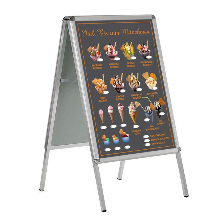 Wetterfestes Banner, Motiv Eis zum Mitnehmen und Wundertüten, im Format DIN A 1 (59,4 cm x 84,1 cm), grau - orange