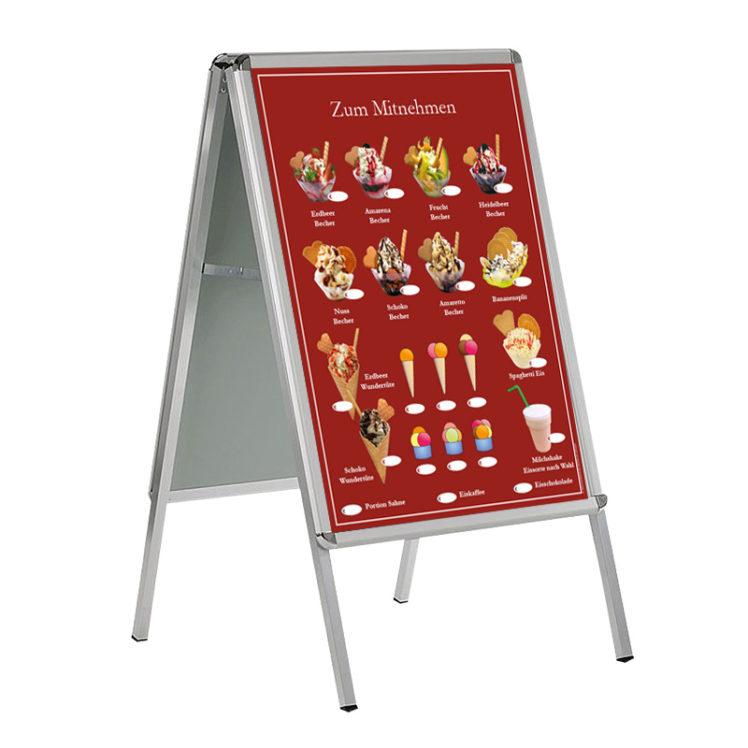 Wetterfestes Banner, Motiv Eis zum Mitnehmen, im Format DIN A 1 (59,4 cm x 84,1 cm), rot