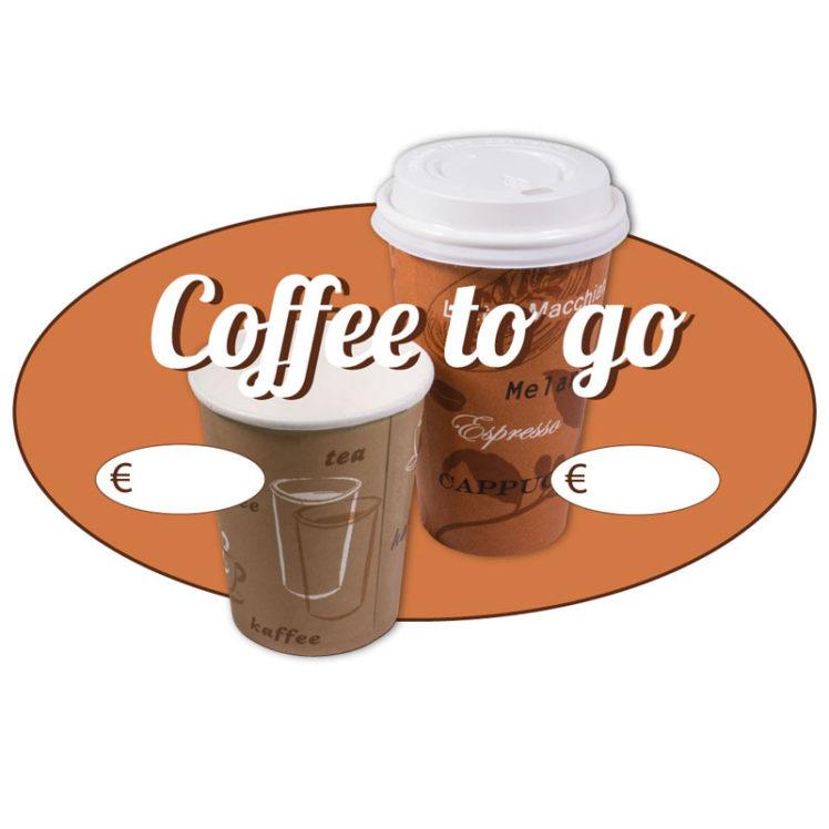 Ovaler Aufkleber, Motiv Coffee to go, 35 cm breit, 25 cm hoch, mit UV-Schutzlaminat