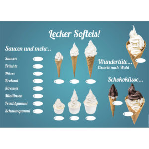 Verschiedene Softeis-Varianten, PVC-Tafel