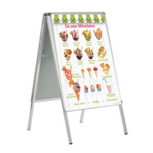 Motiv Eis zum Mitnehmen, wetterfestes Banner für den Kundenstopper im DIN A 1 Format