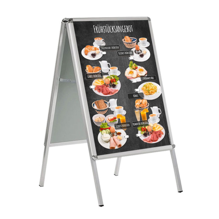 Frühstücksangebote auf DIN A 1 Banner für Kundenstopper