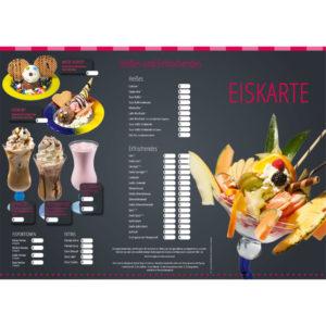 Wetterfeste Eiskarte aus Kunststoff (PVC)