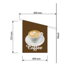 """Tasse Cappuccino und Text """"Coffee"""" zum Mitnehmen"""