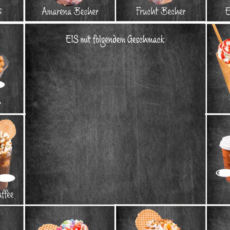 Diese Tafel kann 4 Tafeln ersetzen und bietet Platz für ein größeres Angebot an Eissorten.
