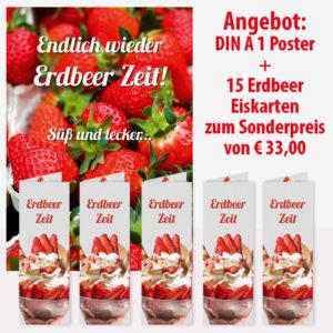 Aktionsangebot: Plakat + 15 Erdbeer Eiskarten für die Erdbeerzeit