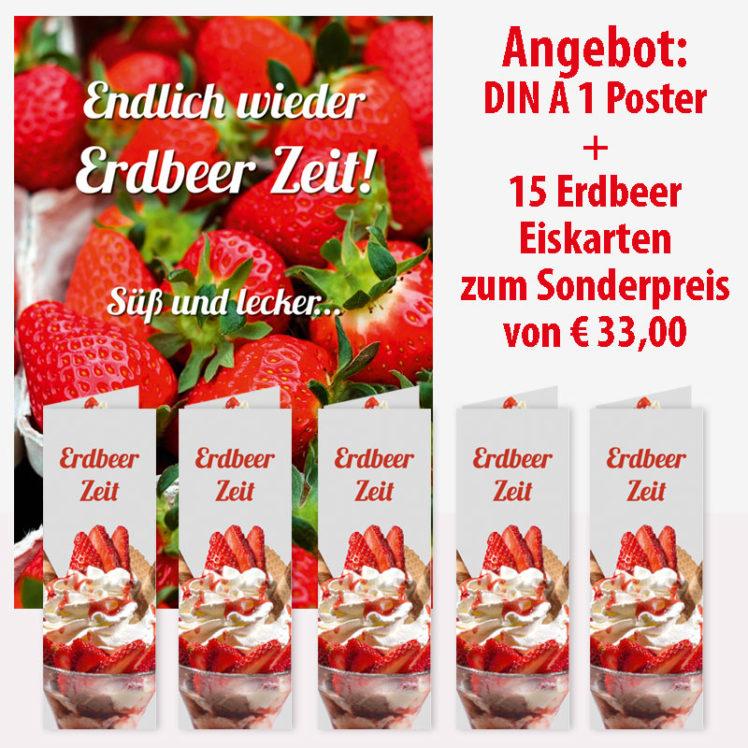 1 Plakat mit frischen Erdbeeren und 15 Erdbeer Eiskarten