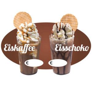 Ovaler Aufkleber Motiv Eiskaffee / Eisschokolade