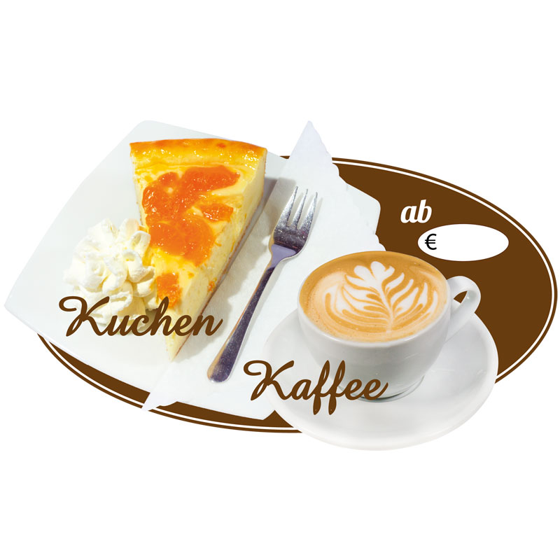 Ovaler Aufkleber Motiv Kaffee und Kuchen - eisreklame.de