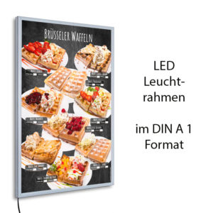 LED-Rahmen und Motiv Brüsseler Waffeln im Stil einer Kreidetafel