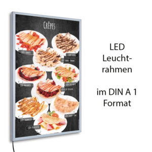 LED-Rahmen und Motiv Crêpes im Stil einer Kreidetafel