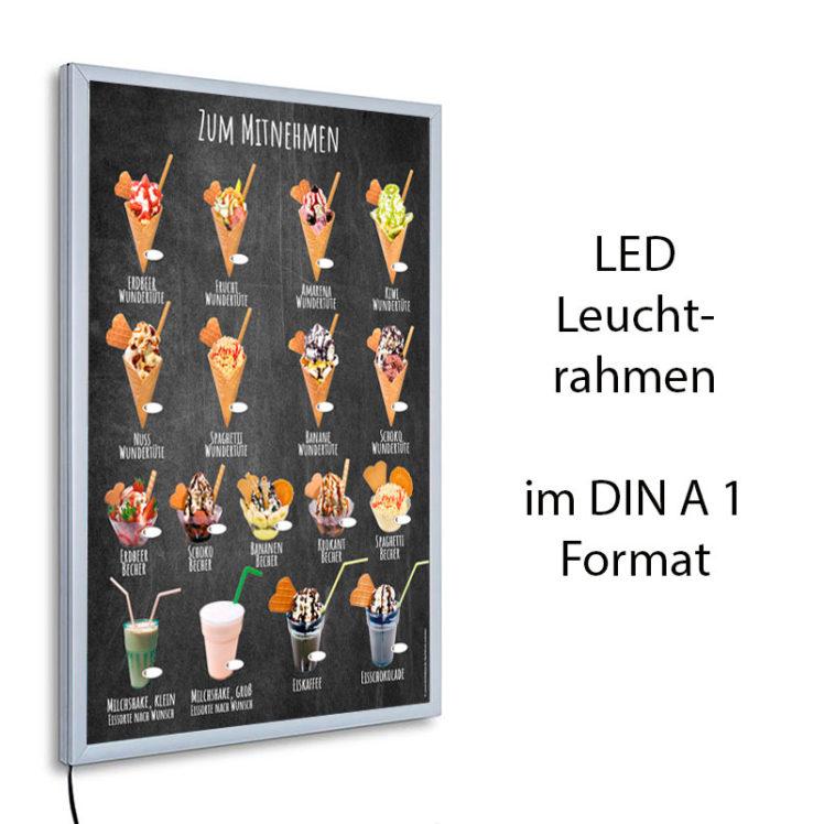 LED-Rahmen mit Motiv Eis zum Mitnehmen und Wundertüten