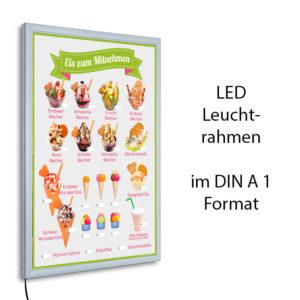 LED-Rahmen mit Motiv Eis zum Mitnehmen - grün/grau