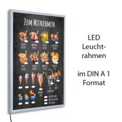 LED-Rahmen mit Motiv Eis zum Mitnehmen im Stil einer Kreidetafel
