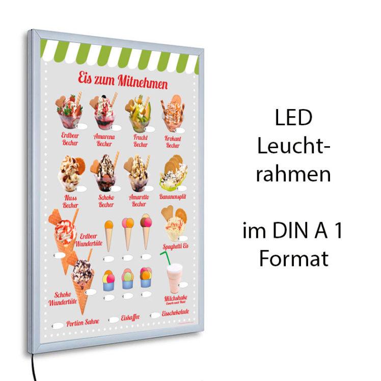 LED-Rahmen mit Motiv Eis zum Mitnehmen - grün-weiße Jalousie