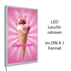 LED.Leuchtrahmen im DIN A 1 Format und Motiv Eisgenuss pur
