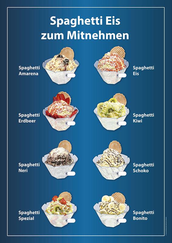 Wetterfestes Banner mit Spaghetti Eis zum Mitnehmen