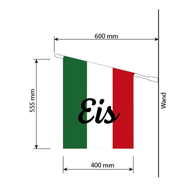 """Schruftzug """"Eis"""" mit italienischen Farben im Hintergrund"""