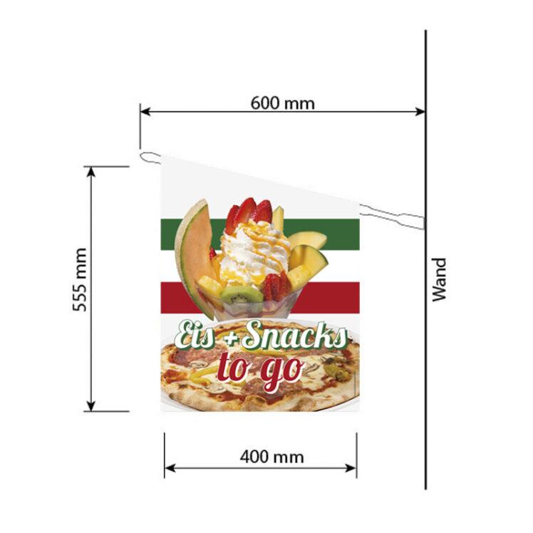 Fahne mit Snacks und Eis zum Mitnehmen