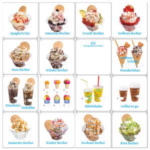 Eiskarte für die Wand - Wandtafelset